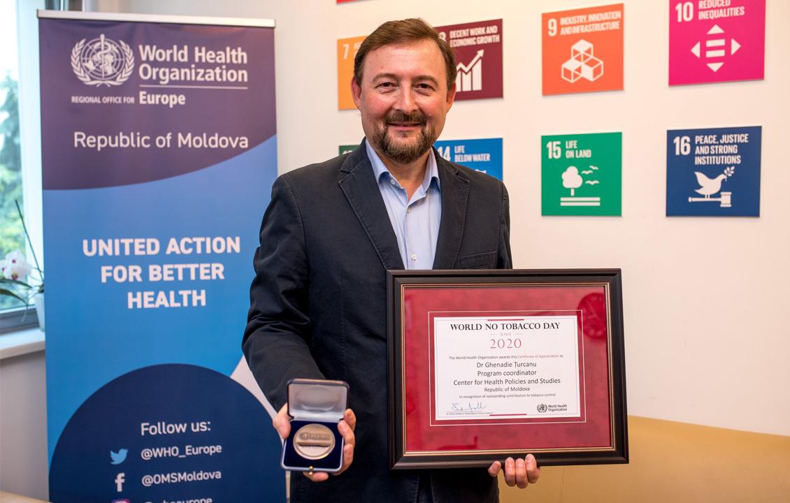 Ghenadie Turcanu a fost premiat de OMS pentru contribuția personală la controlul tutunului