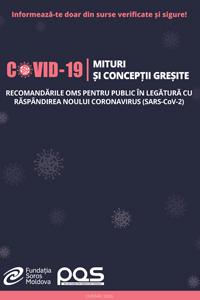 Recomandările OMS pentru public în legătură cu răspândirea noului coronavirus (SARS-COV-2): Mituri și concepții greșite despre COVID-19
