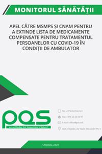 Apel către MSMPS și CNAM pentru a extinde lista de medicamente compensate pentru tratamentul persoanelor cu COVID-19 în condiții de ambulator