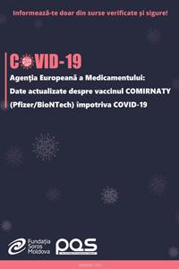 Agenţia Europeană a Medicamentului: Date actualizate despre vaccinul COMIRNATY (Pfizer/BioNTech) împotriva COVID-19